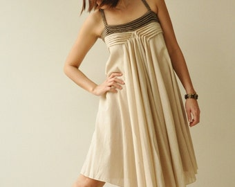 SALE 20% Wind of change.... Cream-Brown Cotton Dress 2 Sizes Available