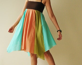 Umbrella...Green-Orange Tone Cotton dress