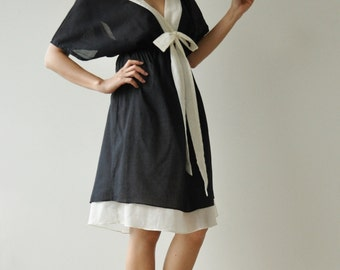 Butter Fly II ...Black and white Cotton Dress