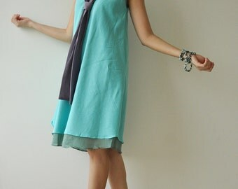 The Tie.... Blue Cotton Dress