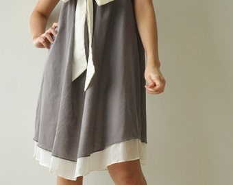 Bow...Gray Cotton dress