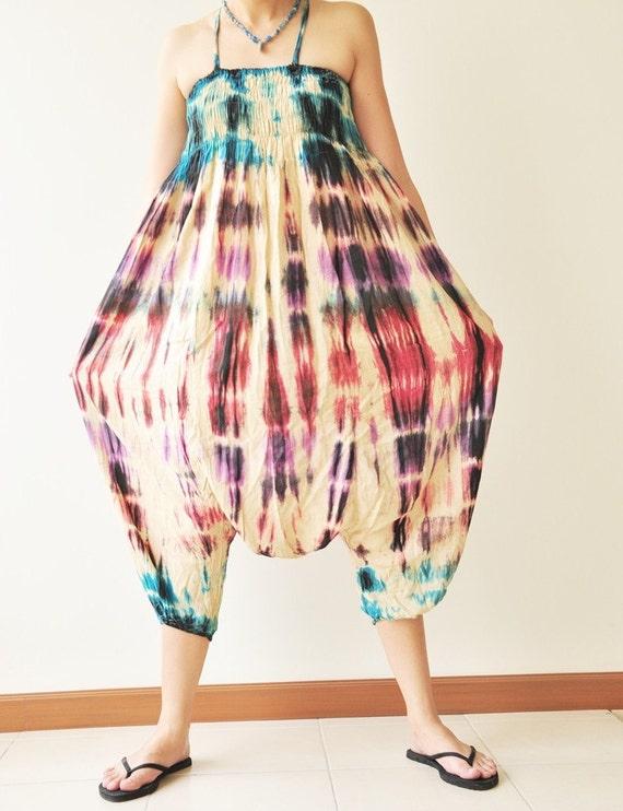 Big Big world...Multicolour tie dye  Rayon Harem Pants Jump Suit