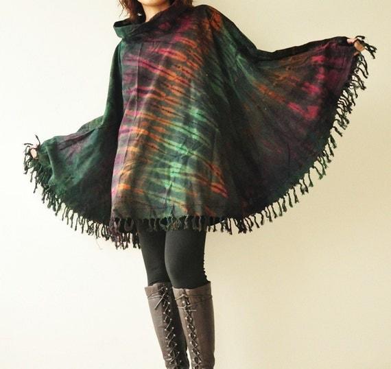 Circled me - Tie dye shawl poncho S13