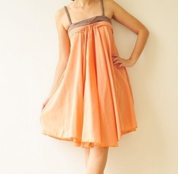 SALE 50% Wind of change.... Orange Cotton Dress