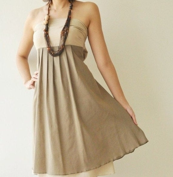 SALE 20% Wind of change Part II.... Cream-Brown Cotton Dress
