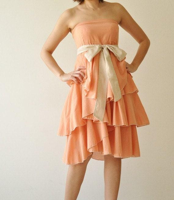 Waft ... Orange-Cream Cocktail Dress 2 Sizes Available