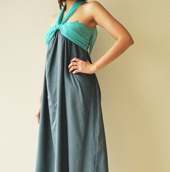 SALE 50% Feel So Good ...Dark Blue Halter Maxi Cotton dress(Limited)