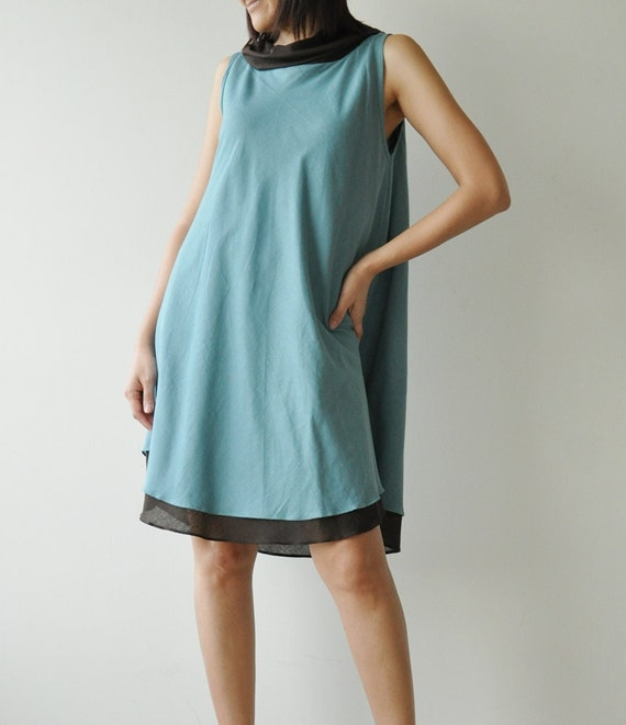 SALE 50% Think Earth.. Blue Brown Cotton dress (Limited)