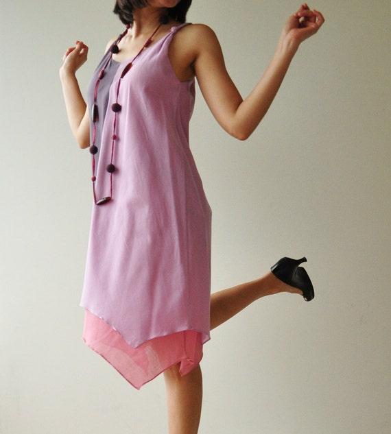 SALE 50% Two tone part II.... Purple-Pink Cotton Dress