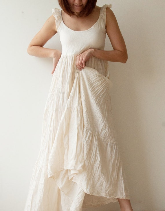 Wing.....Cotton long dress - White Summer