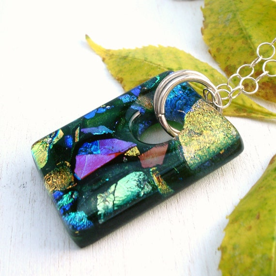 Green Glass Necklace and Pendant, Sterling Silver, Modern Fused Glass Jewelry Ready to Ship