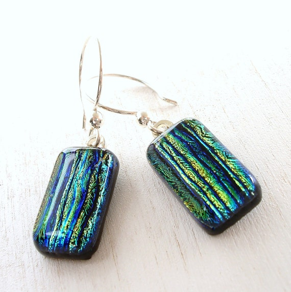 Fused Glass Earrings, Gold and Teal Dichroic Stripes, Sterling Silver Wires
