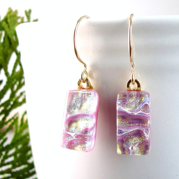 Pink Glass Earrings, Gold Filled Wires, Fused Glass Jewelry, Dichroic Earrings