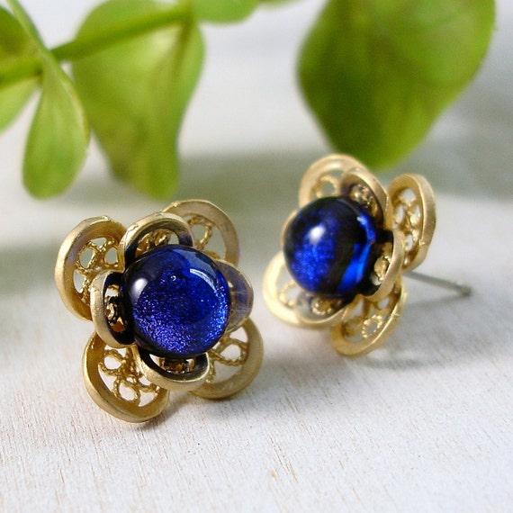 Blue Post Earrings, Gold and Blue Glass Stud Earrings
