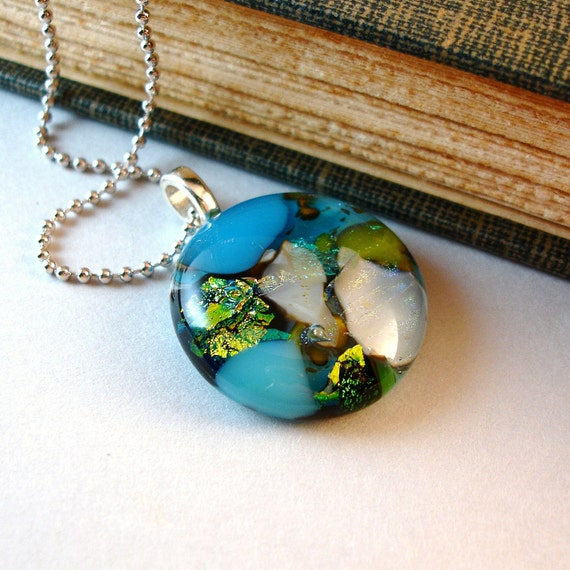 Aqua Blue Necklace and Pendant, Fused Glass Jewelry