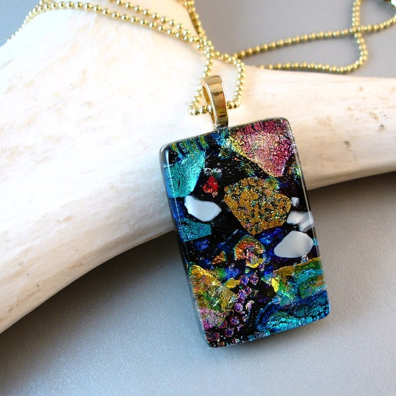 Multi Colored Necklace, Dichroic Glass Pendant,