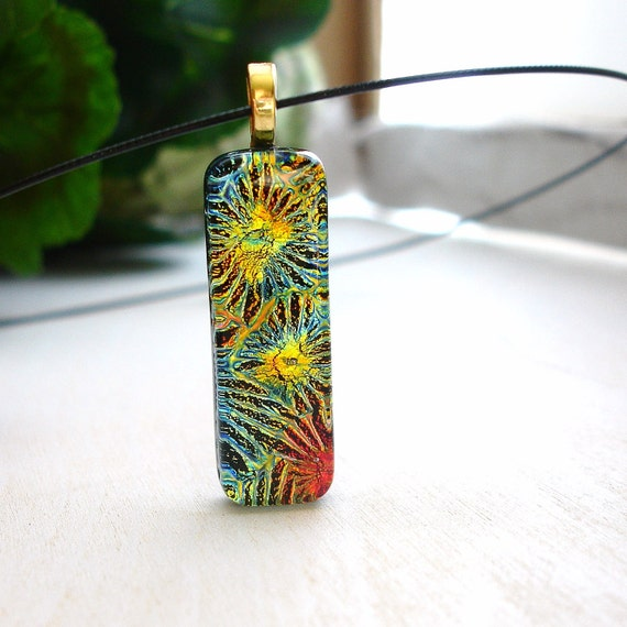 Multi Color Fused Glass Necklace, Dichroic Pendant, Glass Jewelry
