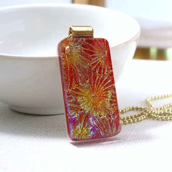 Red Glass Necklace, Dichroic Fused Glass Pendant, Multi Color Pendant