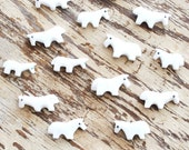 6 white horse fetish beads carved from alabaster