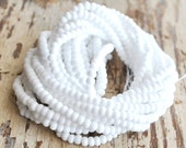 6 strands pure snow white seed pony beads size 6