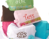 monogrammed makeup bag, personalized cosmetic bag, design your own bag