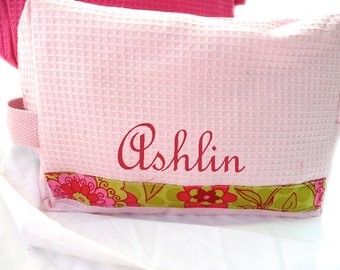 monogrammed makeup bag, personalized cosmetic bag, light pink poppies