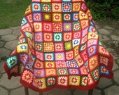 Granny square blanket, afghan, patchwork, colorful, crochet, 20% OFF price