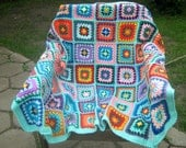 Granny square afghan blanket, warm, wrap, colorful, handmade, crochet, patchwork, bed cover, blue, cozy, baby