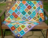 granny square afghan, crochet blanket, patchwork, colorful, bright, 20% OFF price