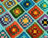 Granny square afghan blanket, handmade, colorful, patchwork, crochet, wrap, cover, warm and cozy