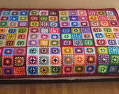 Granny square afghan blanket, warm, wrap, colorful, handmade, crochet, patchwork, bed cover, red, cozy