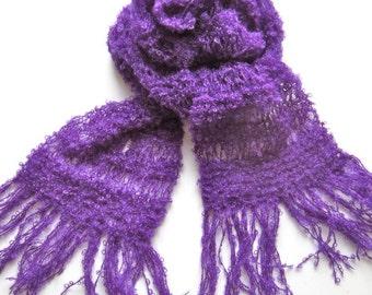 Knit scarf, purple, warm,  wool, cozy, handmade, shawl, bright, soft