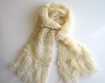 Knit scarf white, handmade, wool, delicate, warm, shawl, cozy, soft