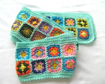 Emerald Granny Square Scarf, hippie style, unique design, bohemian, shawl, colorful, bright, handmade, warm