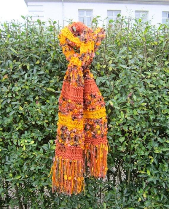 Knit scarf, warm shades, handmade, orange and yellow, dropstitch, shawl, warm and cozy, soft