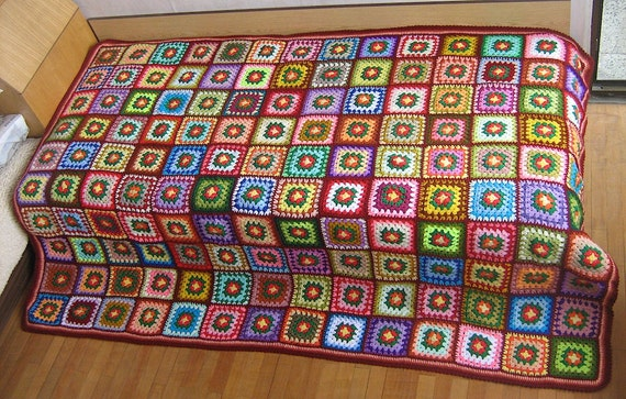 Big granny square afghan blanket, colorful, retro, patchwork, wrap, handmade, crochet, red, cozy, bed cover, warm