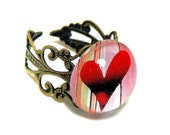 Sweet Heart, Red Heart, Antiqued Brass Adjustable Fashion Ring