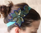 Lucky Green Beaded Flower Stretch Headband