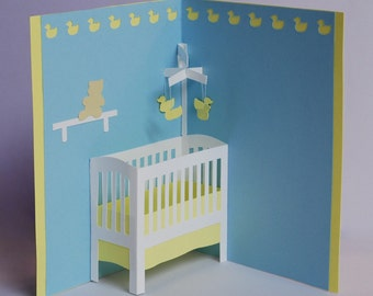 Baby Crib Pop-Up Card in Pastel Blue, Pink, or Green