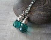 Emerald City.  Dangle Earrings on Sterling Silver.