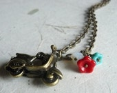 Scooter Necklace--Charm Necklace--flower bouquet--Summer in Italy.