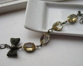 40 percent off  Vintage Look Bracelet with Honey Colored Jewels.  Clover.