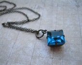 Cosmic Love.  Teal Solitaire Vintage Jewel Necklace.