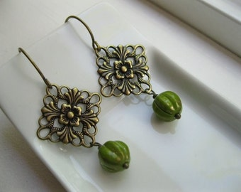 Harvest.  Filigree and Avocado Green Gold Earrings