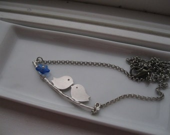 All a Twitter in Blue.  Perched Birds on Twig Necklace.