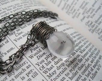 Looking Glass.  Clear Glass Teardrop Pendant Necklace.