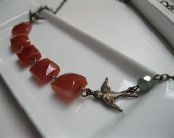 Carnelian and Sparrow Stone Necklace.