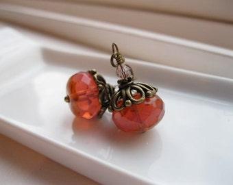 Melba.  Peach Opal Antiqued Brass Earrings