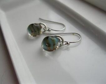 Glass Lampwork--Earrings--Aqua--Orange--Brown--Teardrop--Silver--Sun--Beach-- South Miami