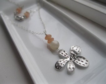 Abstract Silver Flower, Moonstone, Peach Moonstone, Sterling Silver Necklace.